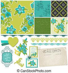 blauwe , communie, -, vector, ontwerp, plakboek, bloemen
