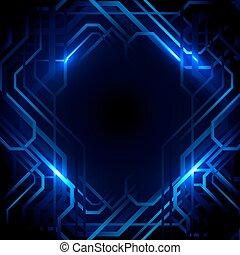 blauwe , concept, achtergrond., abstract, lijnen, lichten, ontwerp, technologie