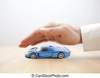 blauwe , concept, auto, hand, speelbal, bedekt, verzekering