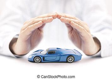 blauwe , concept, auto, speelbal, handen, bedekt, verzekering