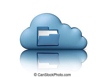 blauwe , concept, gegevensverwerking, storage., vrijstaand, illustratie, computer, white., bestand, 3d, folder., wolk, pictogram