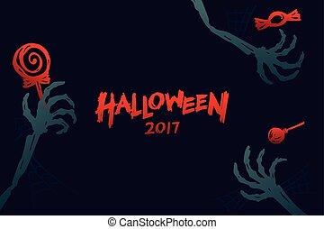 blauwe , concept, skelet, ruimte, set, tekst, halloween, vrijstaand, illustratie, hand, donkere achtergrond, ontwerp, versuikeren, mal, achtergrond, 2017, kopie, monster