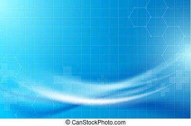 blauwe , concept, wetenschap, abstract, lijnen, golvend, achtergrond, geometrisch