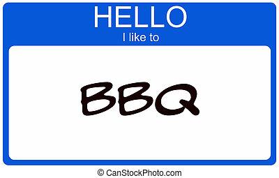 blauwe , concept, zoals, label, hallo, bbq, naam