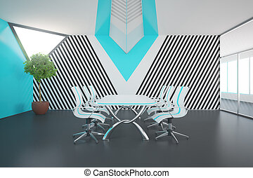 blauwe , conferentie kamer, met, daglicht