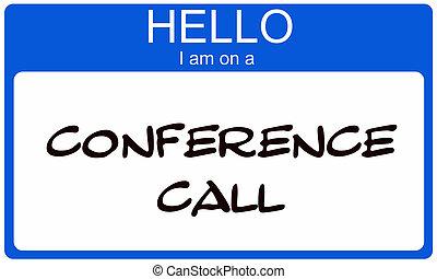 blauwe , conferentie, noem etiket, roepen, hallo