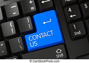 blauwe , contacteer ons, toetsenpaneel, op, keyboard., 3d.