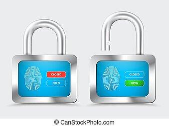 blauwe , controle, hangslot, chromed, bescherming, vingerafdruk, display