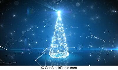 blauwe , cyberspace, het flakkeren, veld voor golfspel, boompje, abstract, digitale , lights., futuristisch, kerstmis, 3840x2160, connections., 4k, vrolijk, jaar, groeiende, nieuw, ultra, concept., hd, vrolijke