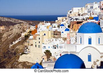 blauwe , cyclades, classieke, eiland, op, middellandse zee, ...