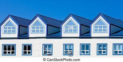 blauwe , dakvenster, houten huis, frame, metaal, dak, vensters