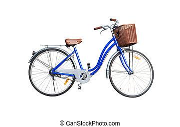 blauwe , dames, fiets, witte achtergrond