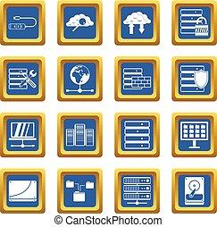blauwe , databank, set, iconen