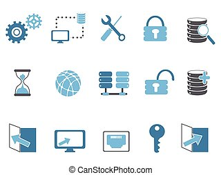 blauwe , databank, set, technologie beelden