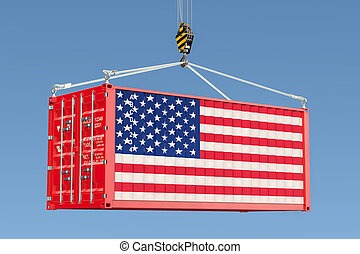 blauwe , de container van de lading, hemel, vertolking, amerikaan, tegen, haak, vlag, hangend, kraan, 3d