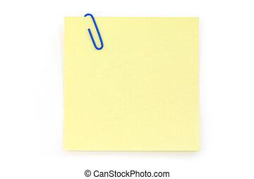 blauwe , de klem van het document, met, gele, notepaper