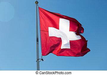 blauwe , de vlag van zwitserland, hemel