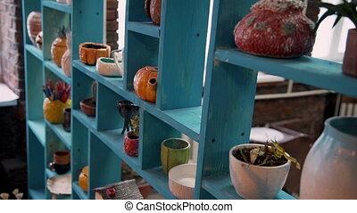 blauwe , decoratief, oud, vaat, planken, vaas, aardewerk