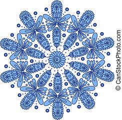 blauwe , decoratief, ronde, kant