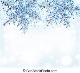 blauwe , decoratieve rand, sneeuwvlok