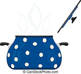 blauwe , deksel, het beeld van de kleur, utensils., spotprent, achtergrond., vector, pan, pots., keuken, open, witte , liggen