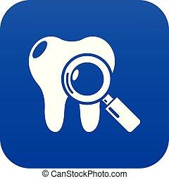 blauwe , dentaal, vector, examen, pictogram