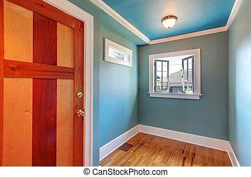 blauwe deur, cutom, hout, venster., open, empty room