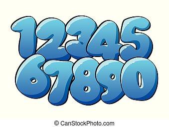 blauwe , digits., numeriek