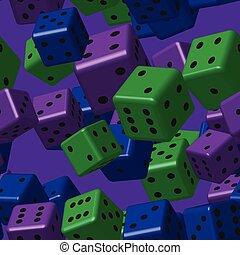 blauwe , dobbelsteen, paarse , model, seamless, groene