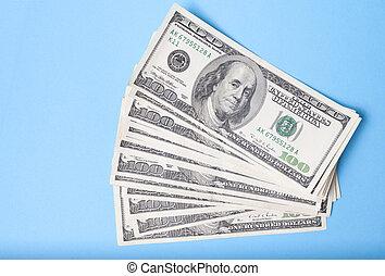 blauwe , dollars, achtergrond, tegen, bankbiljet
