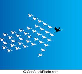 blauwe , donker, concept, lood, vliegen, zwaan, hemel, getal, diep, synergy, tegen, bewindvoering, illustratie, achtergrond, groot, :, zwanen, leider