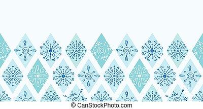 blauwe , doodle, abstract, seamless, ruit, vector, achtergrondmodel, horizontaal, grens