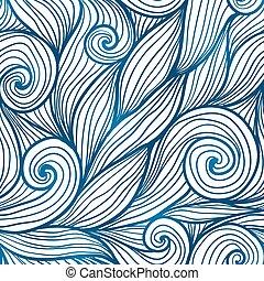 blauwe , doodle, golven, seamless, haar, model