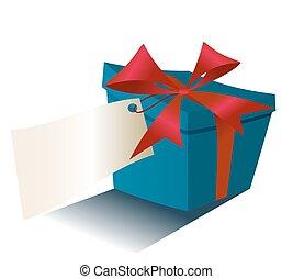blauwe doos, cadeau, vrijstaand, lint, achtergrond, wit rood