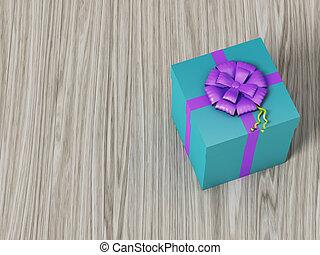blauwe doos, geschenk buiging, rooskleurig lint