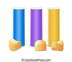 blauwe doos, set, paarse , gele, tin, frites
