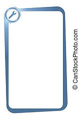 blauwe doos, tekst, het binnengaan, moersleutel, enig