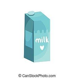 blauwe doos, vector, melk, illustratie