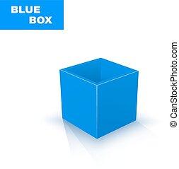 blauwe doos, witte , vrijstaand