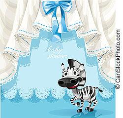 blauwe , douche, zebra, kaart, baby