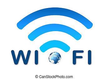 blauwe , draadloos, symbool, netwerk, aarde