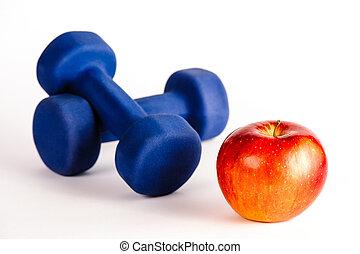 blauwe , dumbbells, appel, rood
