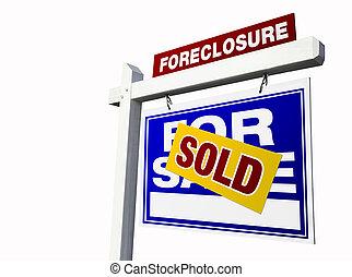 blauwe , echte, foreclosure, landgoed, sold tekenen, witte