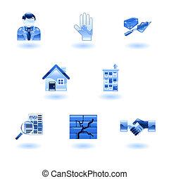 blauwe , echte, glanzend, landgoed, iconen