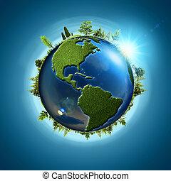 blauwe , eco, abstract, planet., achtergronden, bos, aardebol