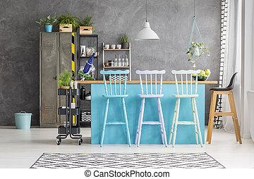 blauwe , eetkamer tafel