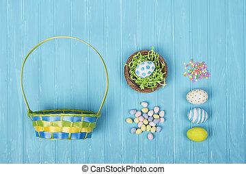 blauwe , eitjes, versuikeren, mand, achtergrond, pasen
