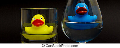 blauwe , en, gele rubbereend, in, bril