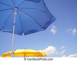blauwe , en, gele, umbella