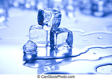 blauwe , en, glanzend, ijs kubeert